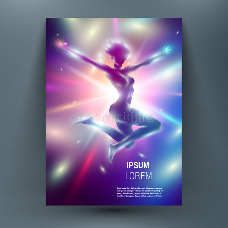 Abstract mock up composition with slim woman on shining sun backdrop stock illustration
