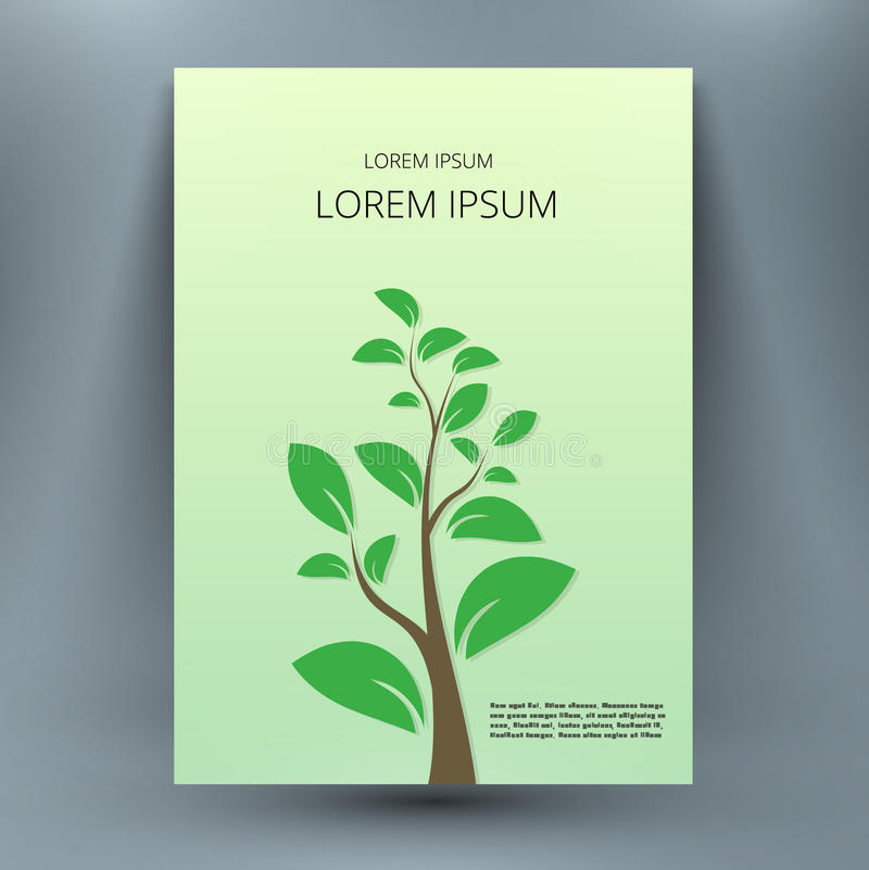 Abstract mock up composition with small tree. A4 brochure title sheet royalty free illustration