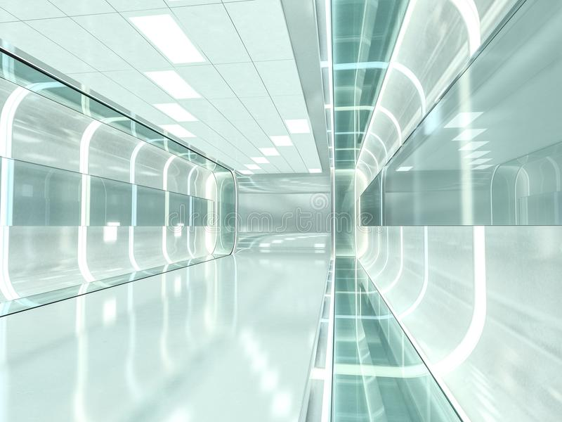 Abstract modern architecture background. 3D rendering. Abstract modern architecture background, empty open space interior. 3D rendering stock image