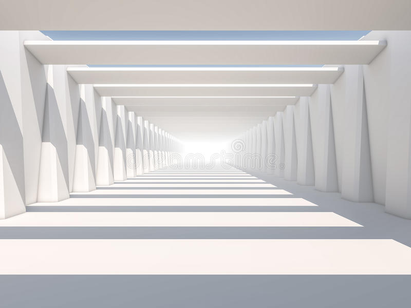 Abstract modern architecture background, empty white open space. Interior. 3D rendering stock images