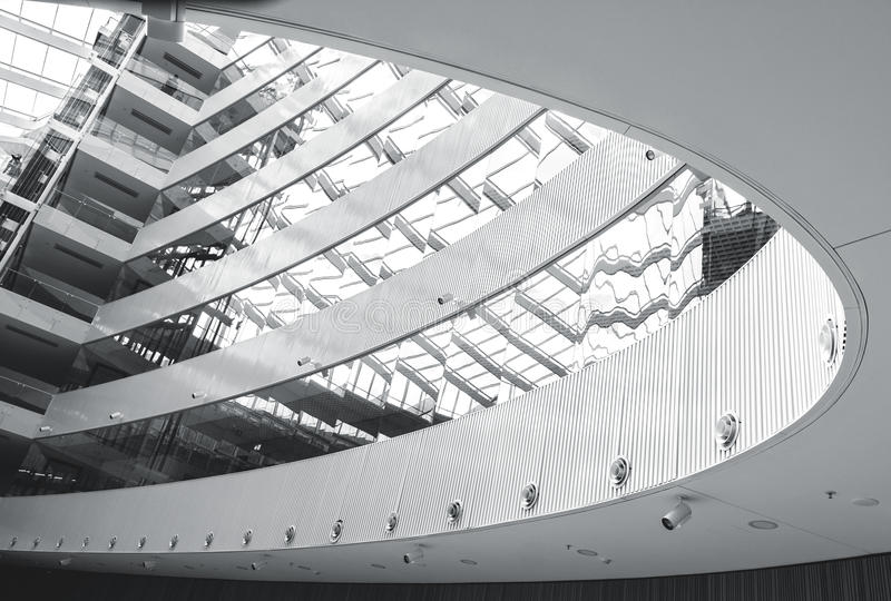 Abstract modern architecture interior. Modern architecture interior lines and shapes. Black and white abstract looking indoors picture royalty free stock photos