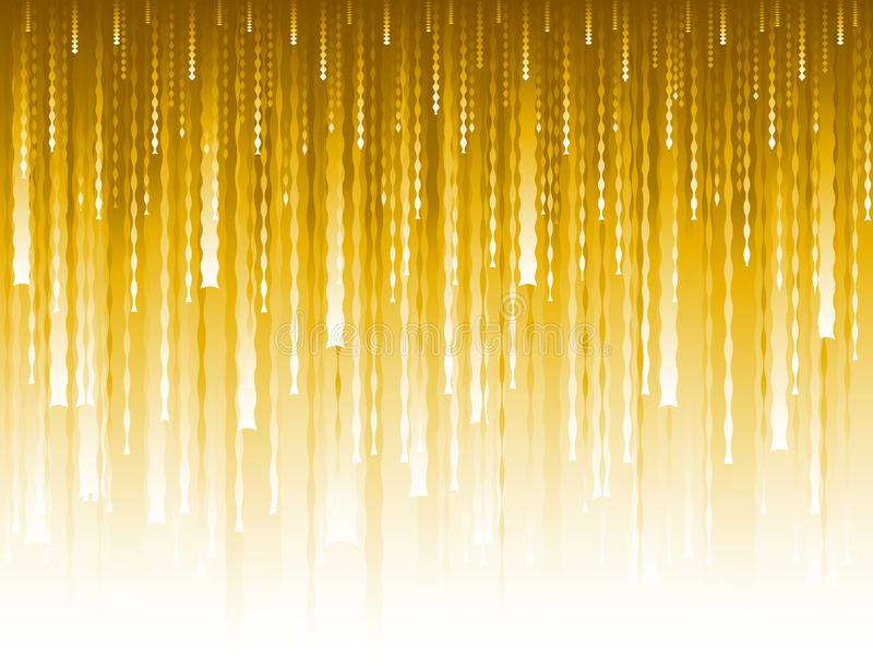 Abstract modern background with golden glittering vertical waves lines. Backgrounds composed of glowing gold lines. Can be used stock illustration