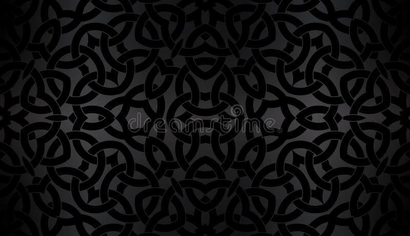 Black background with celtic decorative pattern royalty free illustration