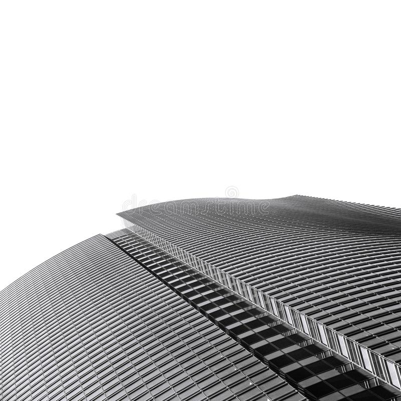 Abstract modern black and white architecture. Isolated on white background royalty free stock photos