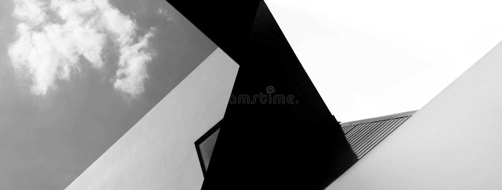 Abstract modern black and white architecture abstract with sky banner background. Abstract modern black and white architecture abstract with sky creative banner stock image