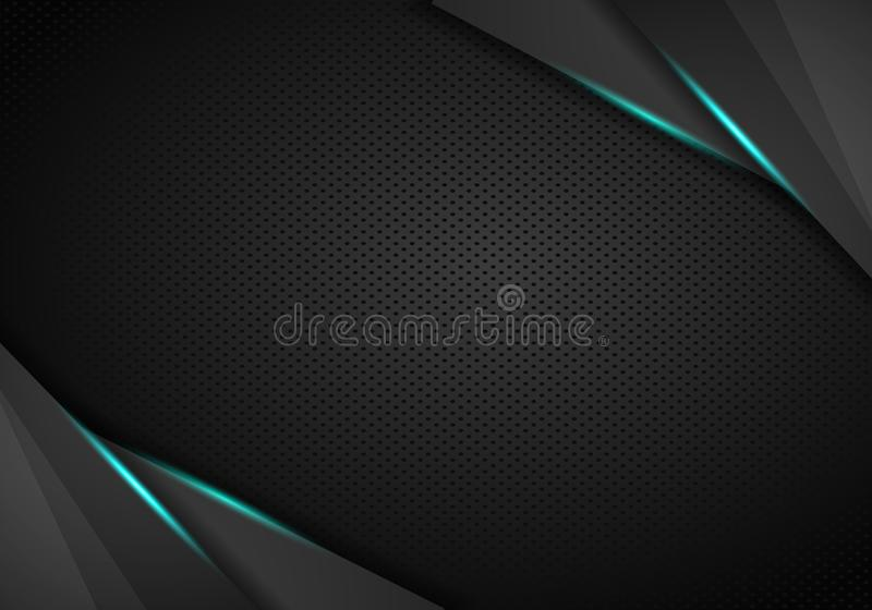 Abstract modern blue carbon fiber with grey perforated metal and polish metal plate textured material design for background,. Wallpaper, graphic design stock illustration