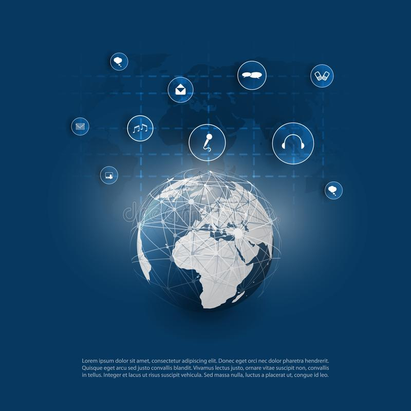 Cloud Computing and Networks Concept Design with App Icons, World Wide Global Network Structure. Abstract Modern Blue Cloud Computing, Technology, Digital vector illustration