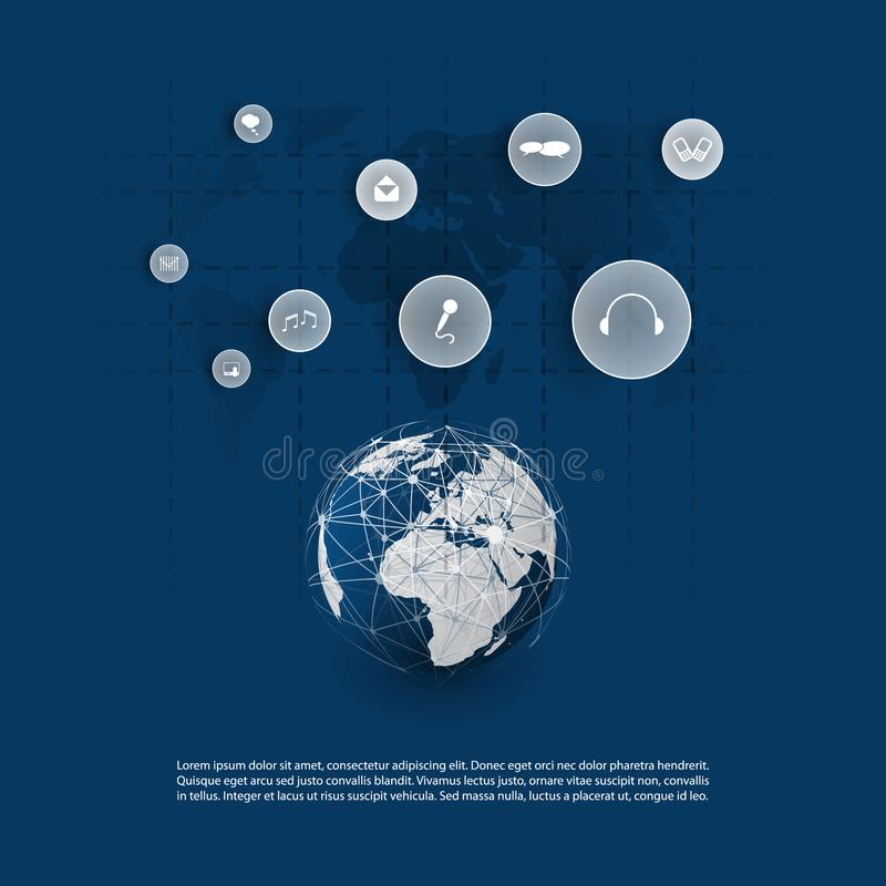 Cloud Computing and Networks Concept Design with App Icons, World Wide Global Network Structure. Abstract Modern Blue Cloud Computing, Technology, Digital stock illustration