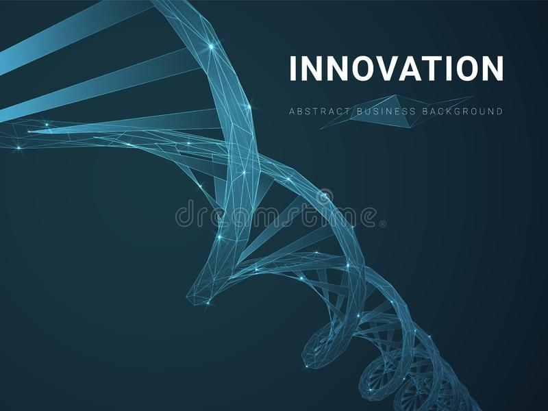 Abstract modern business background depicting innovation with stars and lines in shape of a DNA double helix on blue background royalty free illustration