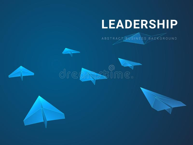 Abstract modern business background depicting leadership in shape of paper planes following a leader on blue background royalty free illustration