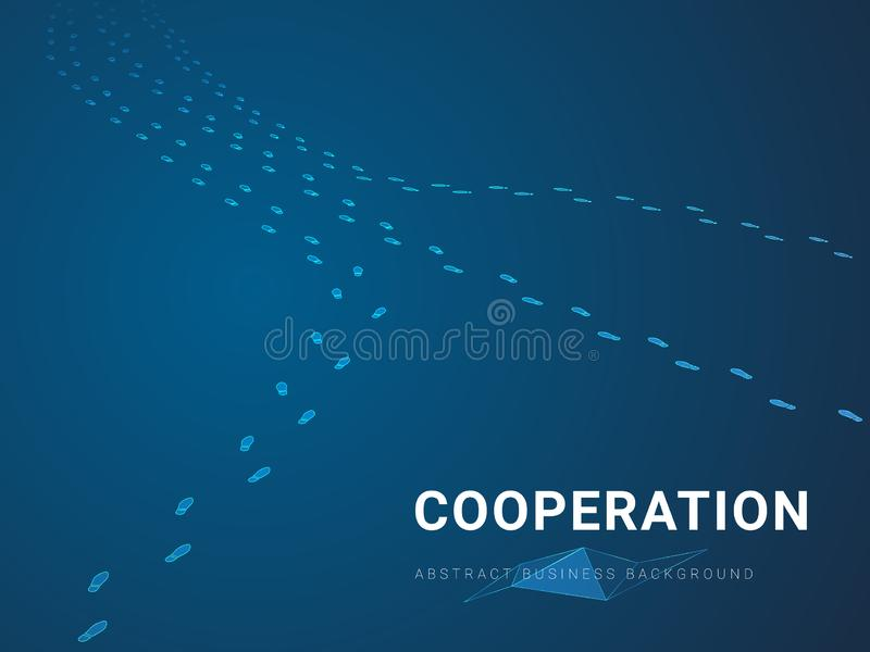 Abstract modern business background vector depicting cooperation in shape of multiple footsteps coming together on blue background vector illustration