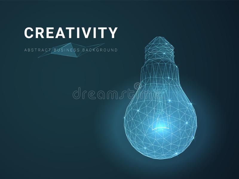 Abstract modern business background vector depicting creativity with stars and lines in shape of a light bulb on blue background royalty free illustration
