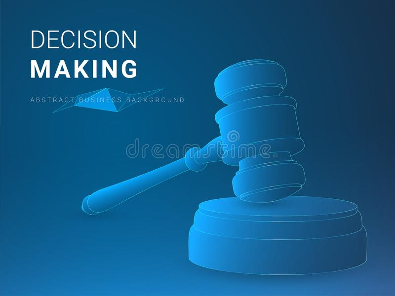 Abstract modern business background vector depicting decision making in shape of a jury hammer on blue background.  stock illustration