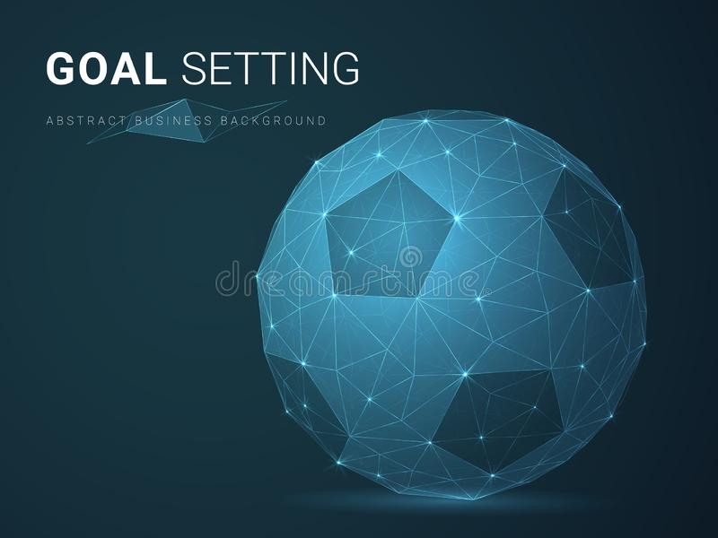 Abstract modern business background vector depicting goal setting with stars and lines in shape of a football on blue background stock illustration