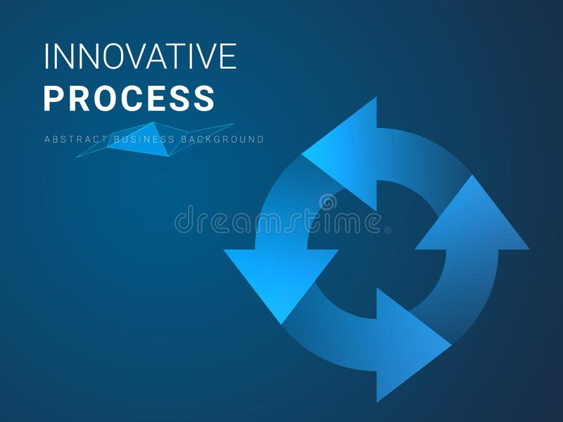 Abstract modern business background vector depicting innovative process in shape of recycle loop symbol on blue background vector illustration