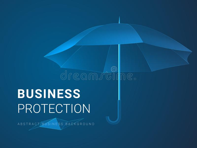 Abstract modern business background vector depicting business protection in shape of an umbrella on blue background vector illustration
