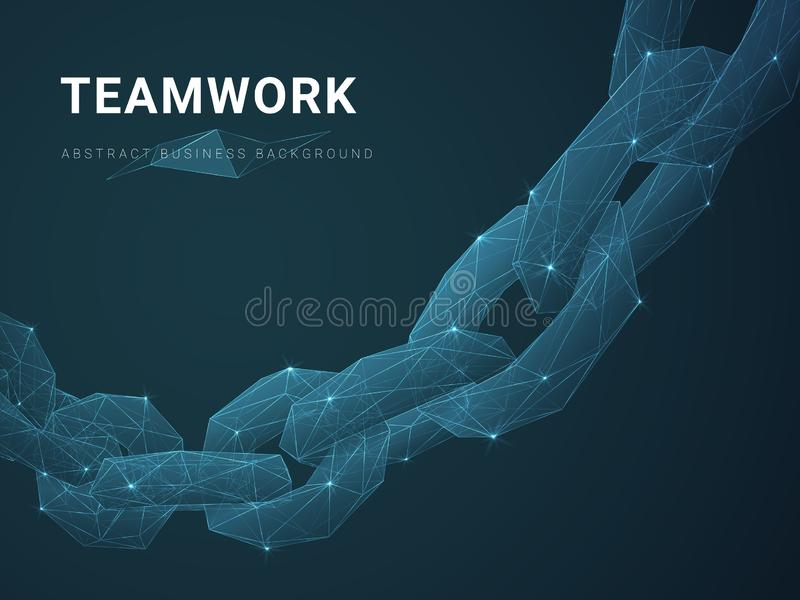 Abstract modern business background vector depicting teamwork with stars and lines in shape of a chain on blue background.  vector illustration