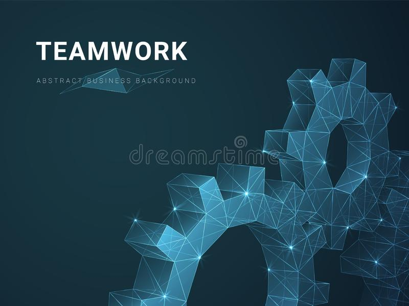 Abstract modern business background vector depicting teamwork with stars and lines in shape of cogwheels on blue background stock illustration