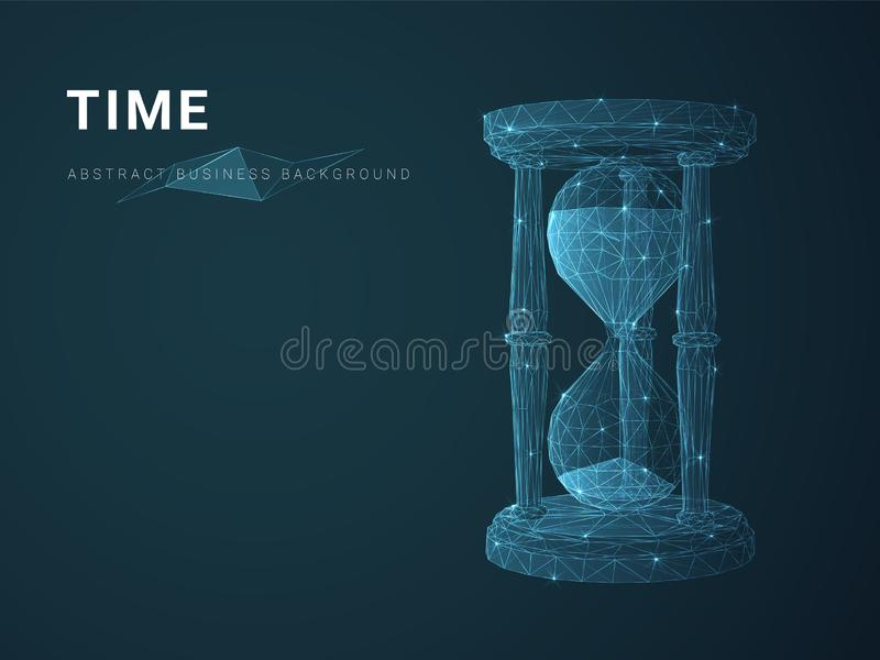 Abstract modern business background vector depicting time with stars and lines in shape of an hourglass on blue background stock illustration