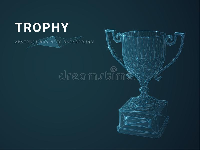 Abstract modern business background vector depicting trophy with stars and lines in shape of a trophy cup on blue background stock illustration