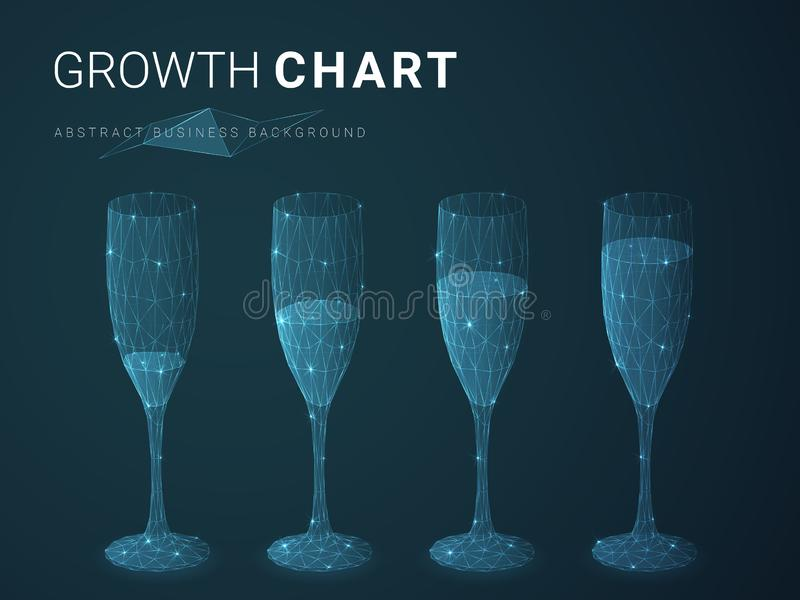 Abstract modern business growing chart with stars and lines in shape of increasingly full champagne glasses on blue background vector illustration