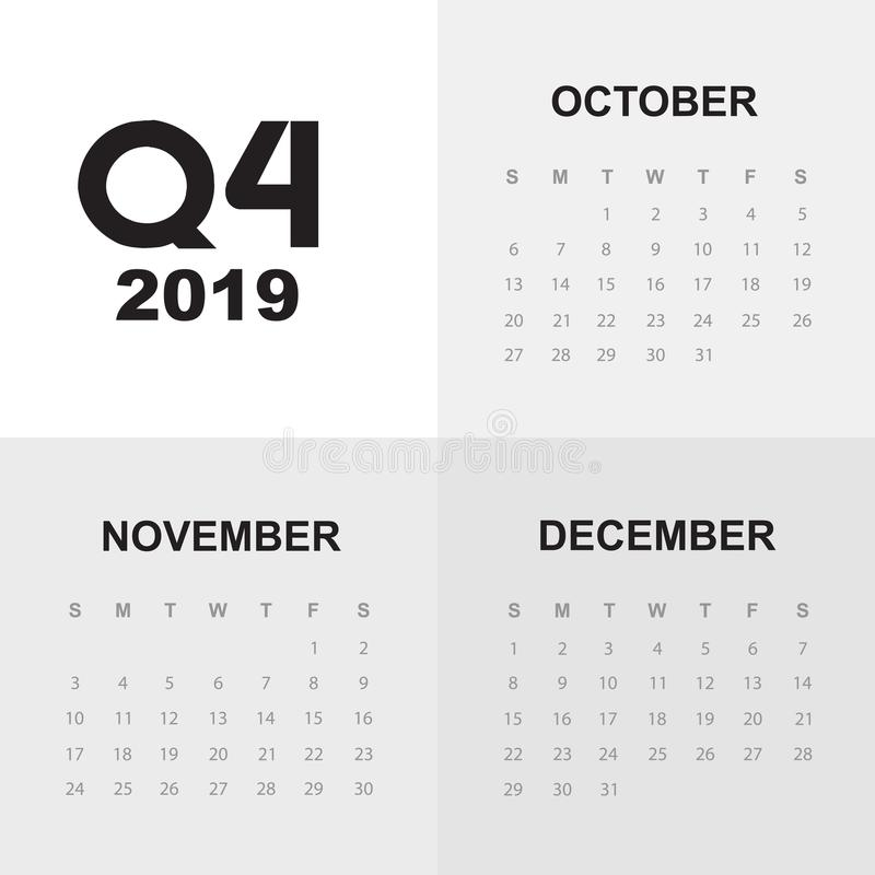 Fourth Quarter Of Calendar 2019 Stock Illustration