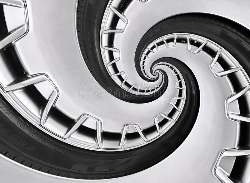Abstract modern car wheel rim with tire twisted into surreal spiral. Automobile repetitive pattern background illustration. Car ab stock image
