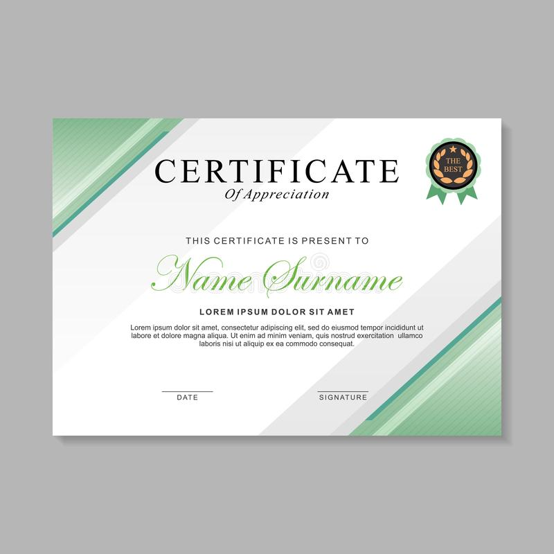 Abstract modern certificate template design with green and white color 库存例证