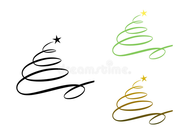 Abstract modern christmas tree (set). Elegant calligraphy drawing of a christmas tree (three color versions included stock illustration