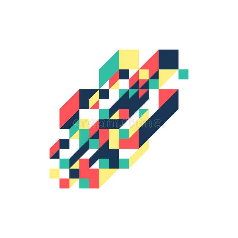 Abstract modern colorful geometric isometric background royalty free illustration