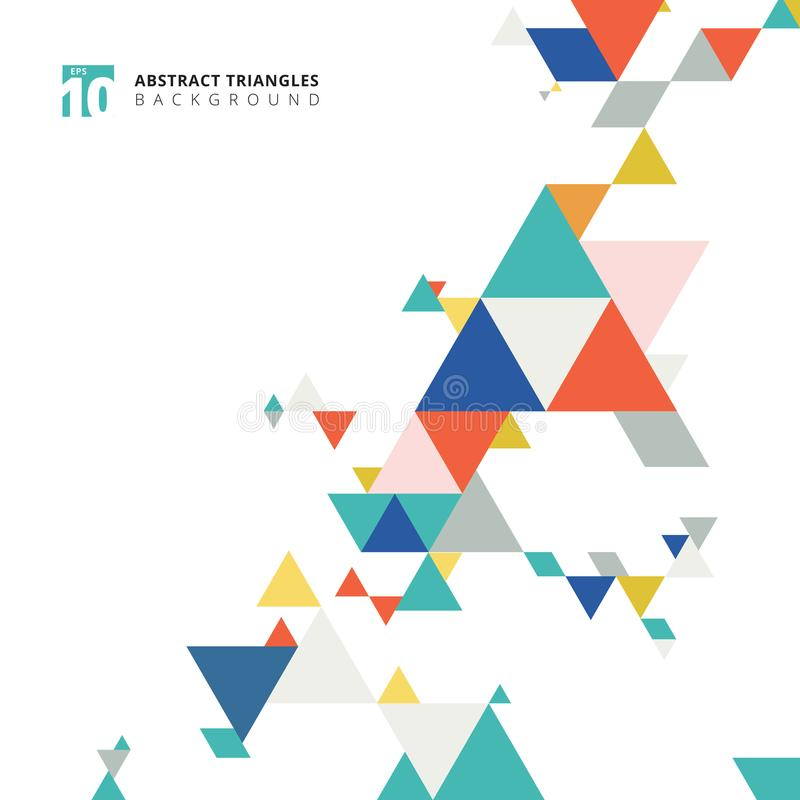 Abstract modern colorful triangles pattern elements on white background with copy space. royalty free illustration