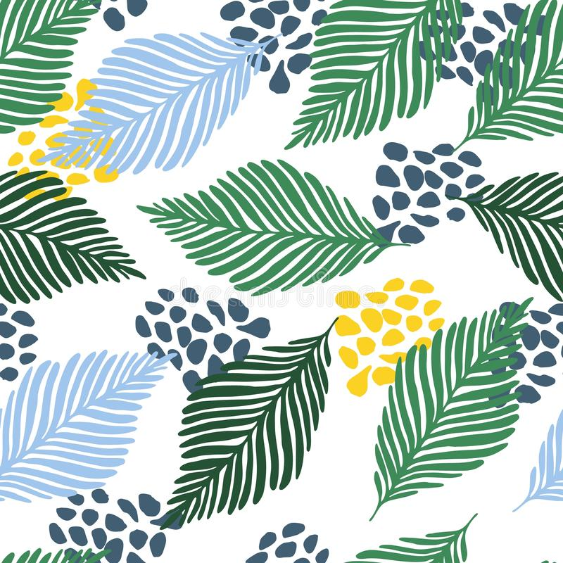 Abstract modern contemporary art style vector illustration. Floral collage seamless pattern. vector illustration