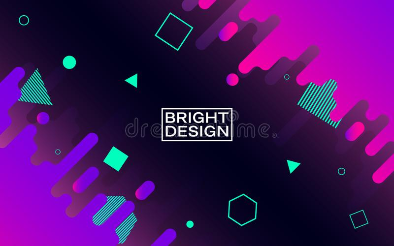 Abstract modern design. Color shapes in space. Bright geometric elements on dark background. Trendy colorful composition vector illustration