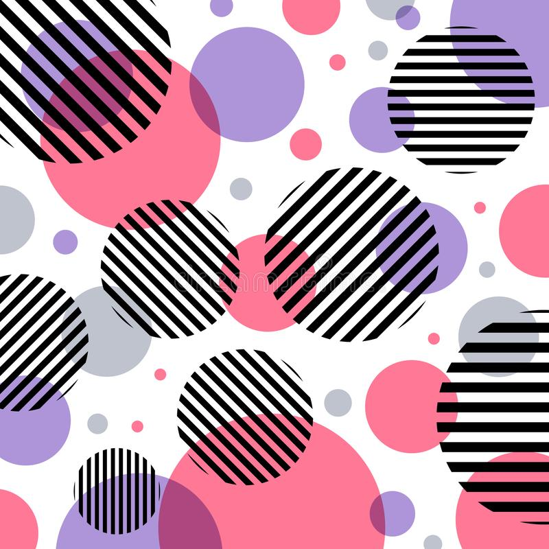 Abstract modern fashion pink and purple circles pattern with black lines diagonally on white background stock illustration