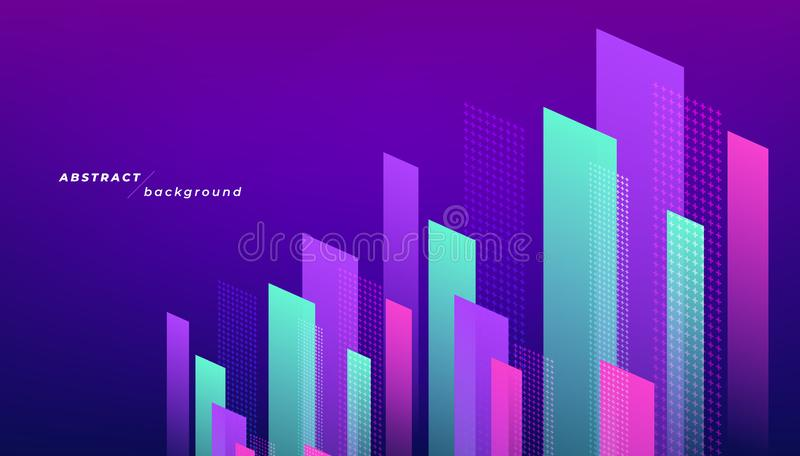 Abstract modern geometric shapes background. Dynamic shapes composition. stock illustration