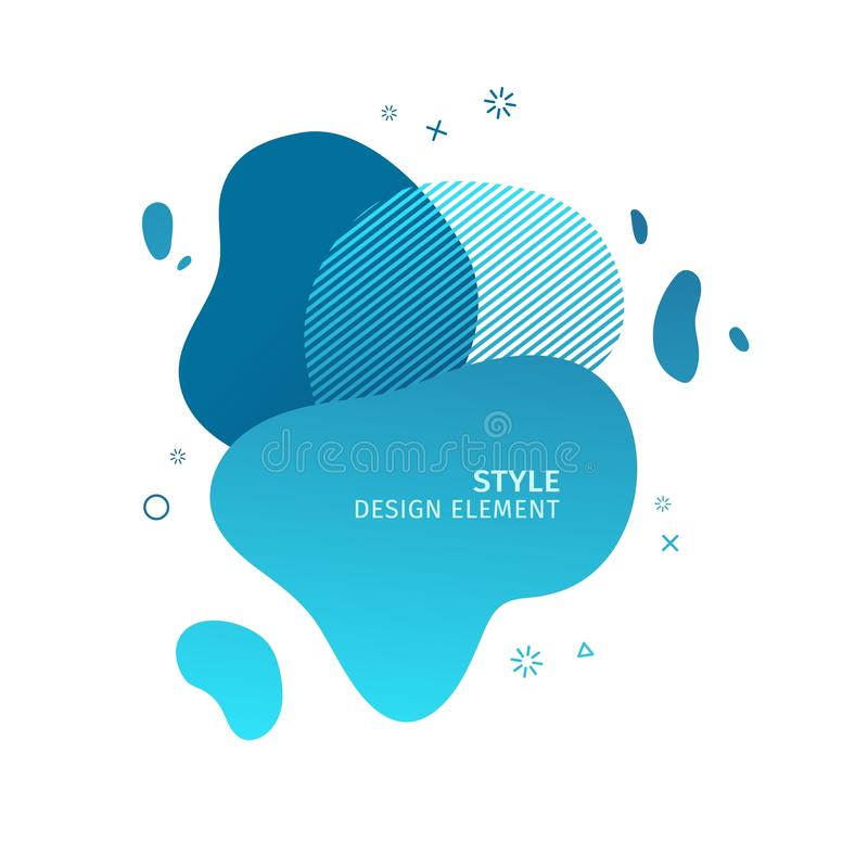 Abstract modern graphic elements. Dynamical blue color form and line. Gradient abstract banner with plastic liquid. Abstract modern graphic elements. Dynamical royalty free illustration