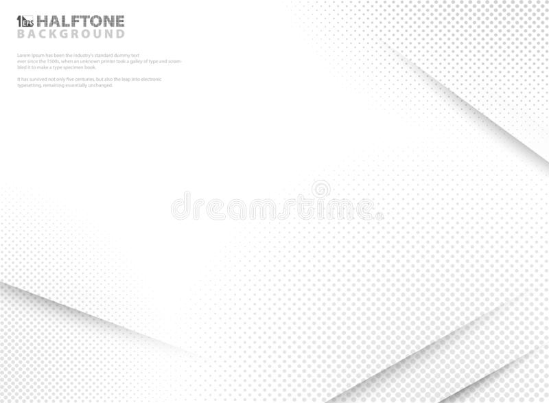Abstract modern halftone of gradient white and grey background. Decorating with cutting shade on clear paper. You can use for poster, layout, brochure, ad royalty free illustration