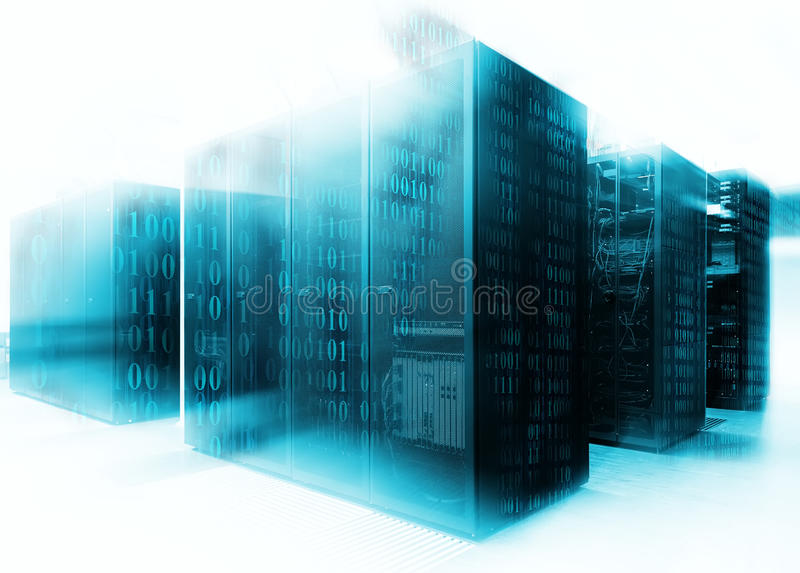 Abstract of modern high tech internet data center room with rows of racks with network and server hardware. stock photos