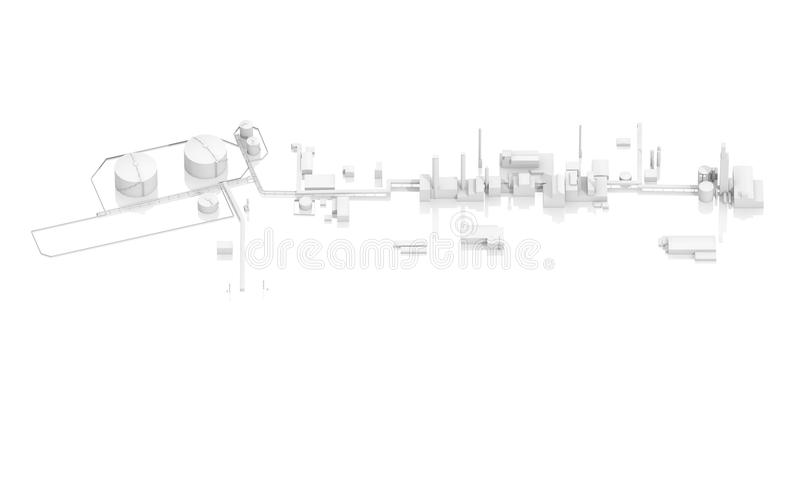 Abstract modern industrial facility. With tanks, chimneys and buildings, 3d model on white background, bird eye view vector illustration