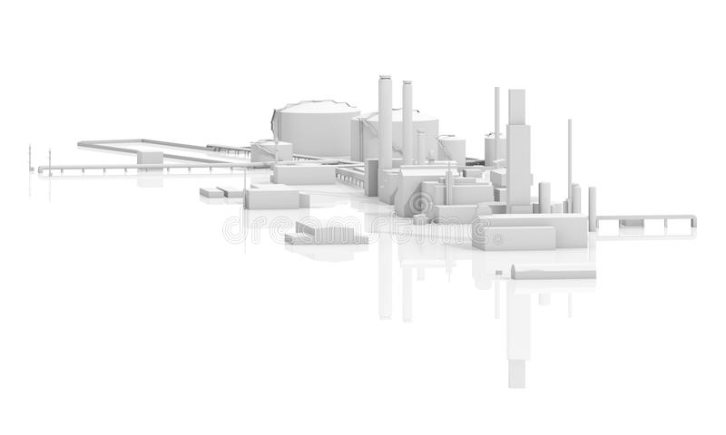 Abstract modern industrial factory 3d. Abstract modern industrial facility. Tanks, chimneys and buildings, 3d model isolated on white background with reflections stock illustration