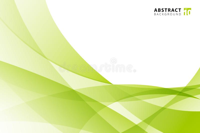 Abstract modern light green wave element on white background with copy space. Vector illustration royalty free illustration