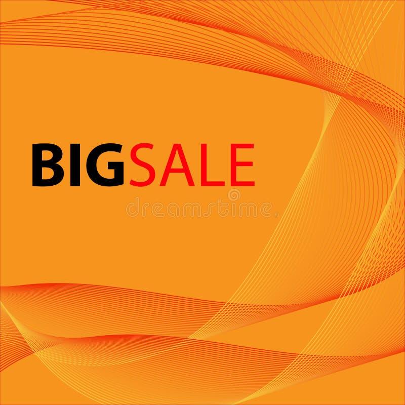 Abstract Modern Line, Wave Designed On Orange Background With Sample Text Big Sale. Vector illustration stock illustration