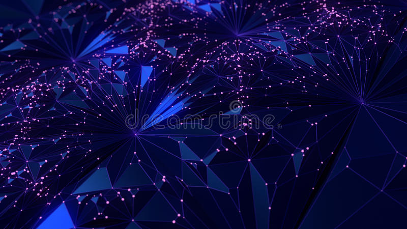 Abstract modern low poly background with scattered pink dots 3d rendering royalty free illustration