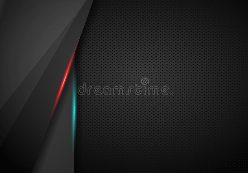 Abstract modern metallic red black frame sports gamer tech concept background layout. Vector graphic template design. Technology royalty free illustration