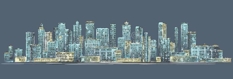 City skyline background. Hand drawn royalty free illustration