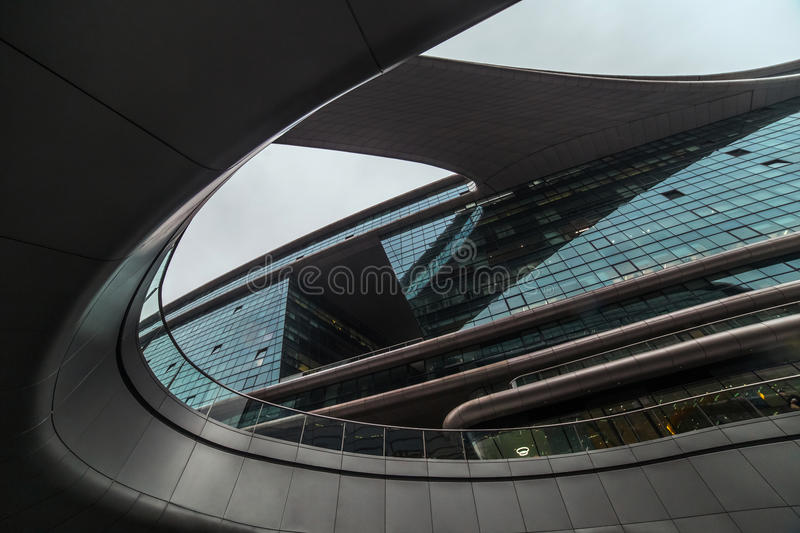Abstract modern shape architecture detail. Bionic facade. Business office. Abstract modern shape architecture detail. Bionic facade. Business office stock image