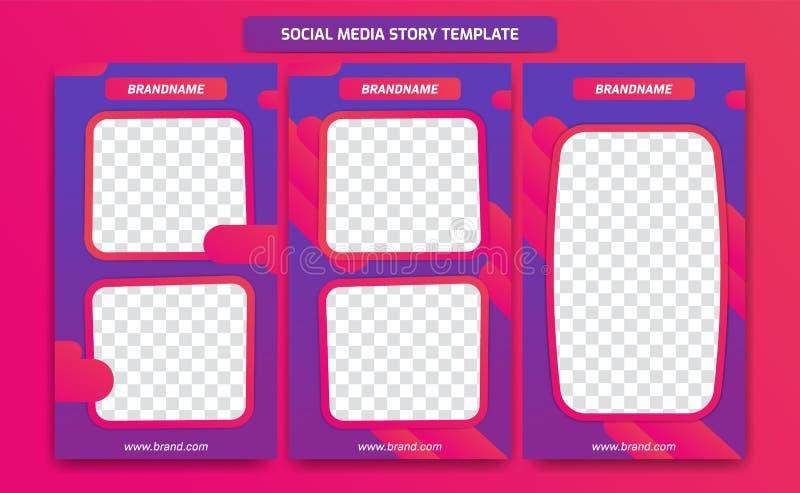 Abstract in modern sociaal media het malplaatjeontwerp van het verhaalkader met abstracte vloeibare gradiënt van purpere violette stock illustratie