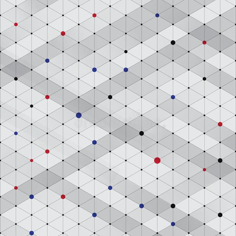Abstract modern stylish isometric pattern texture, Three-dimensional rectangle. Repeating geometric background with red, blue, black rhombus circles variously stock illustration