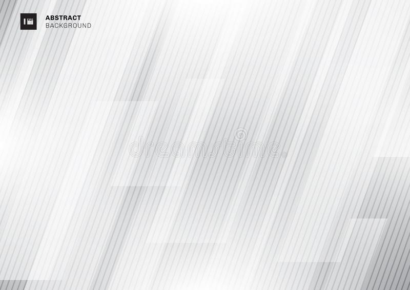 Abstract modern technology concept gray geometric overlapping diagonal with lines texture on white background stock illustration