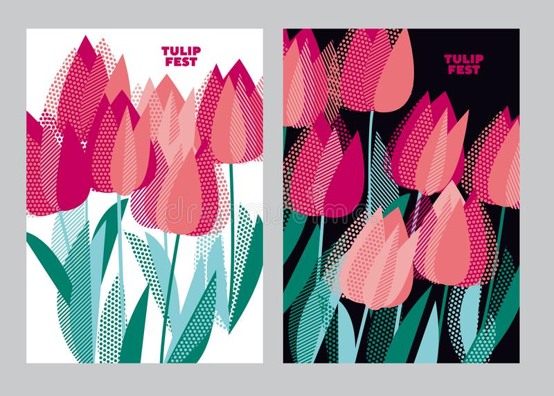 Abstract modern vivid floral motif for surface design. Cool spring pattern with geometric decorative pink tulip flowers. Greeting. Card the beginning of spring vector illustration